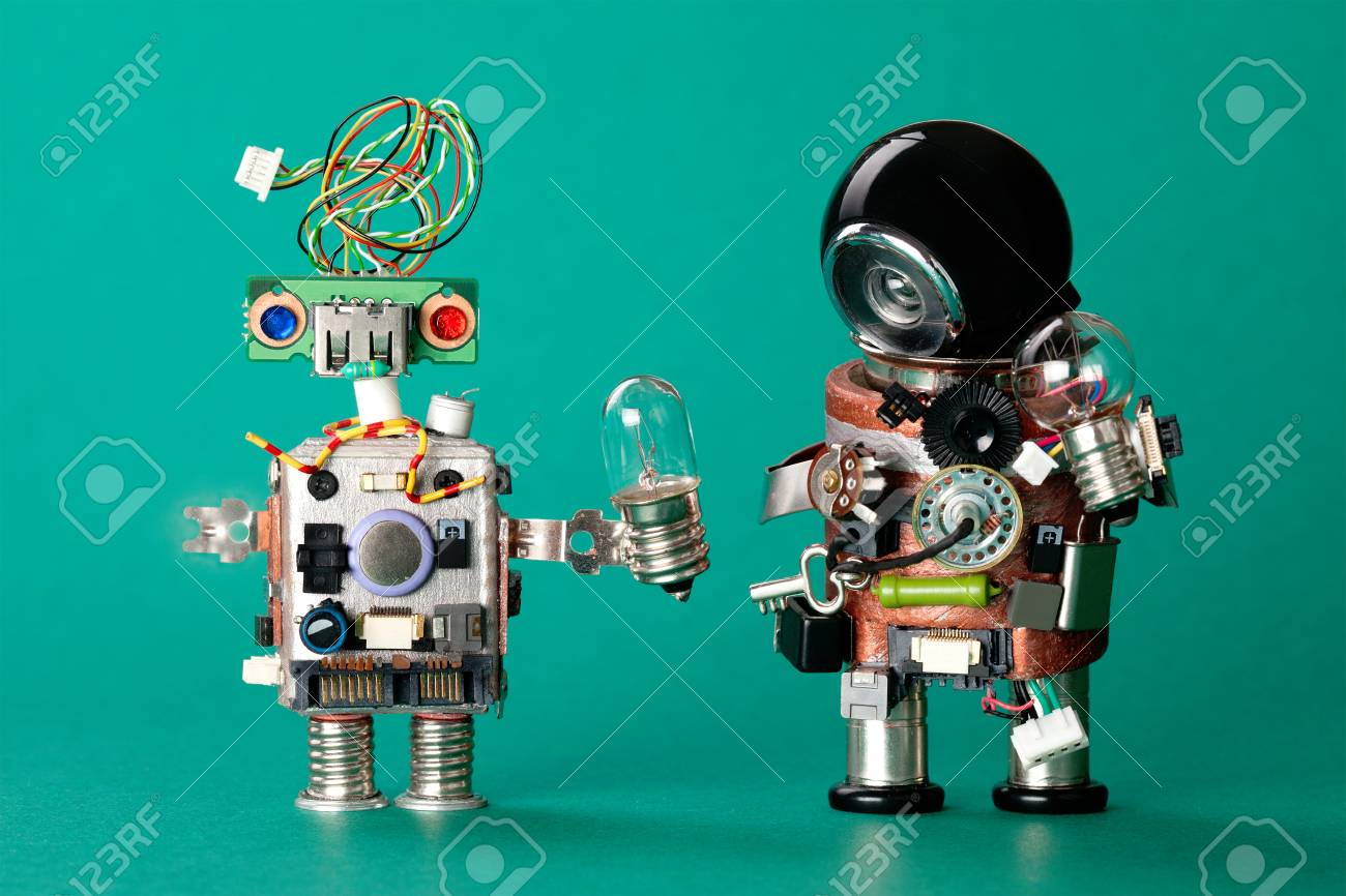 Toy Robots With Lamp Bulbs. Circuits Chip Handyman Characters ...