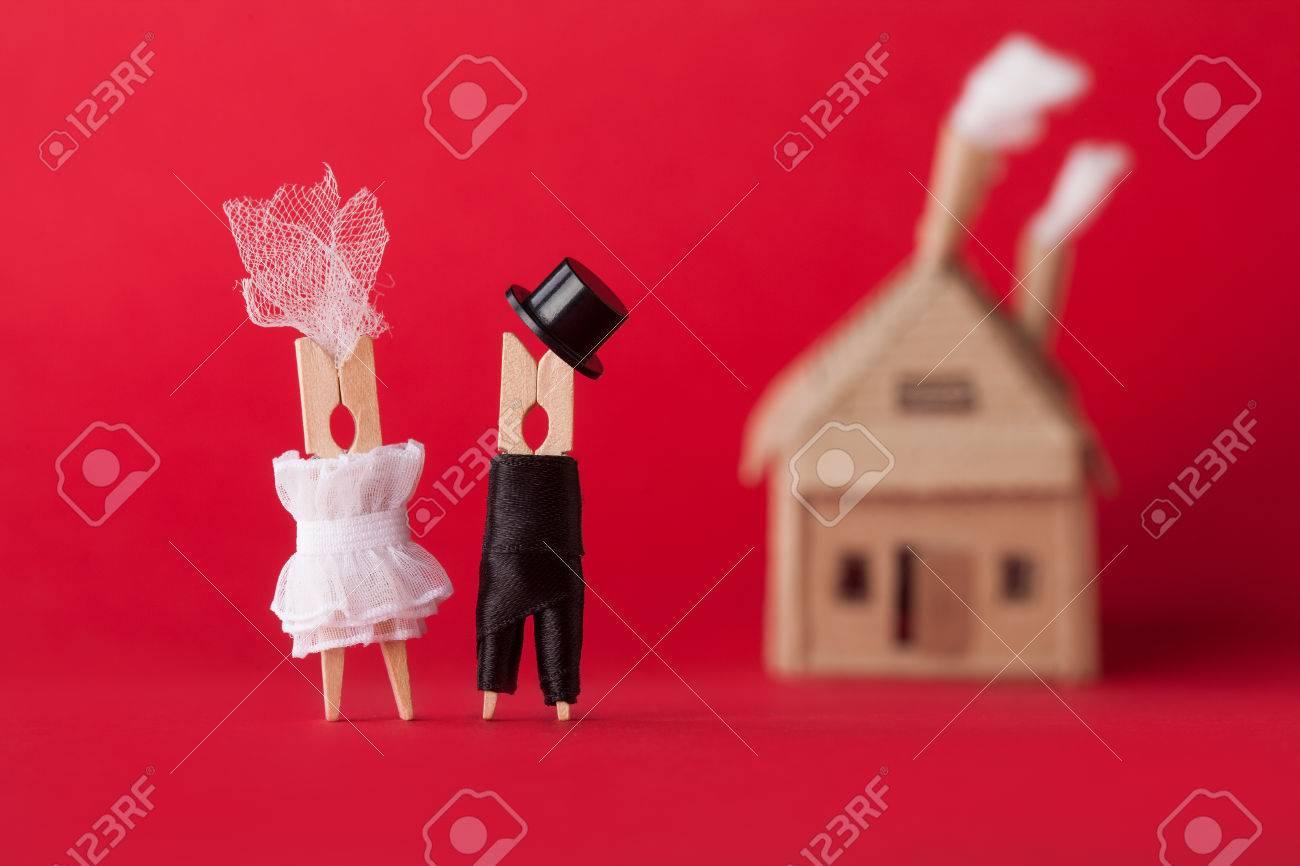 Einladung Zur Hochzeit Und Liebe Konzept Braut Brautigam