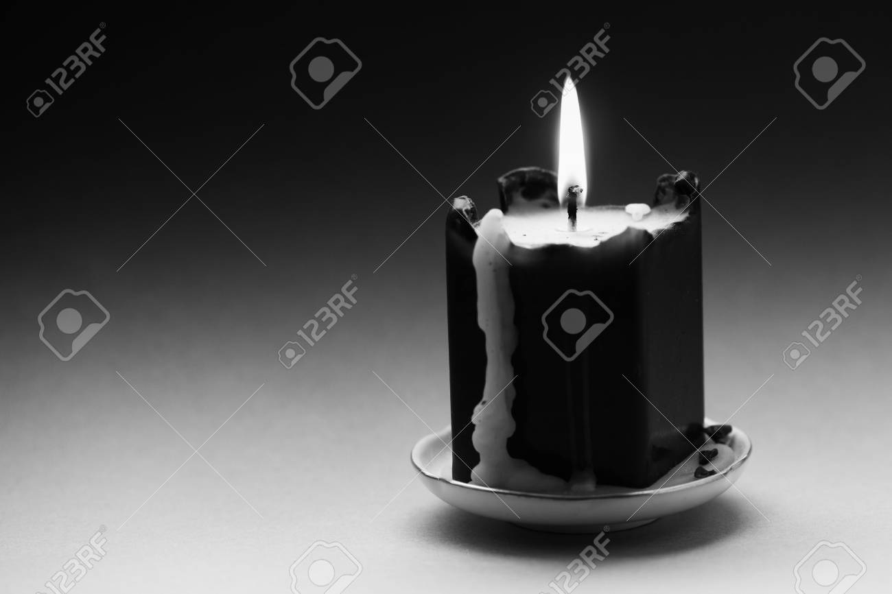 Black White Photography Candle With A Flame And Drips. Noisy.. Stock ... for candle photography black and white  585ifm