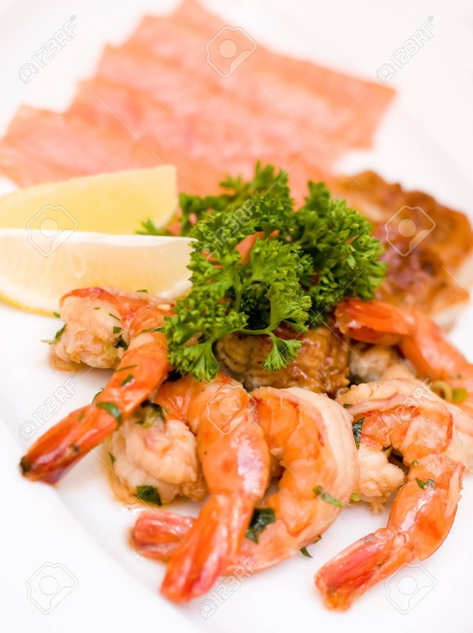 Fish Platter Marinated Shrimp Smoked Eel Chum Salmon On White Stock Photo Picture And Royalty Free Image Image 89091176