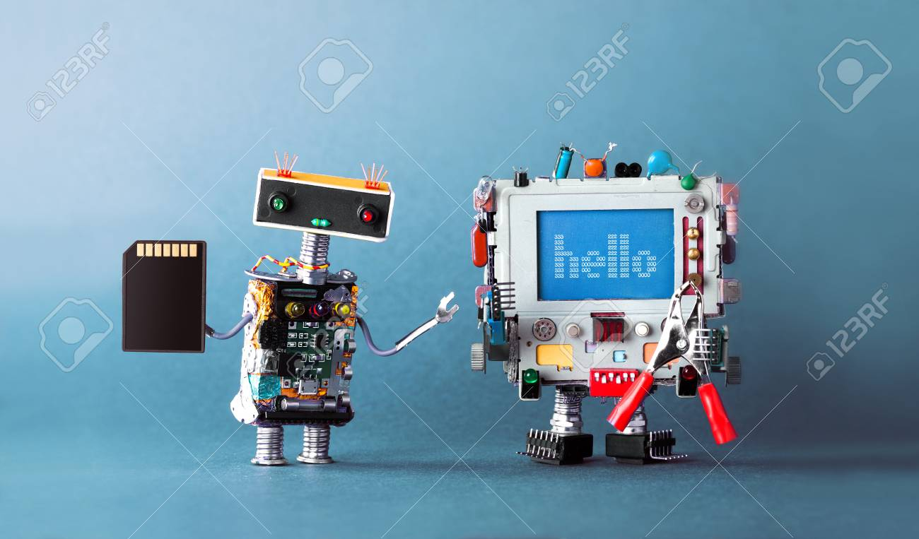Computer android message Hello, with red pliers. Robot mechanic with flash card in hand. Blue background. - 95477726