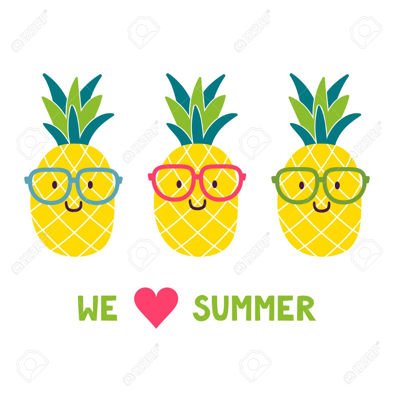 vector background with funny pineapples in glasses and text we