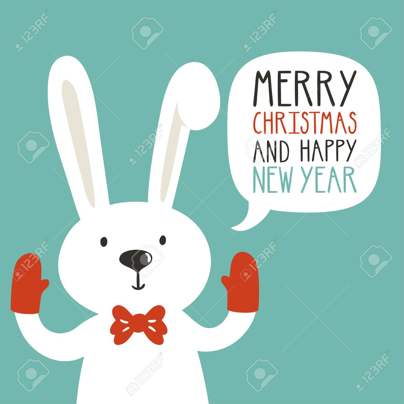 vector vector holiday illustration of a cute rabbit in the mittens saying merry christmas and happy new year