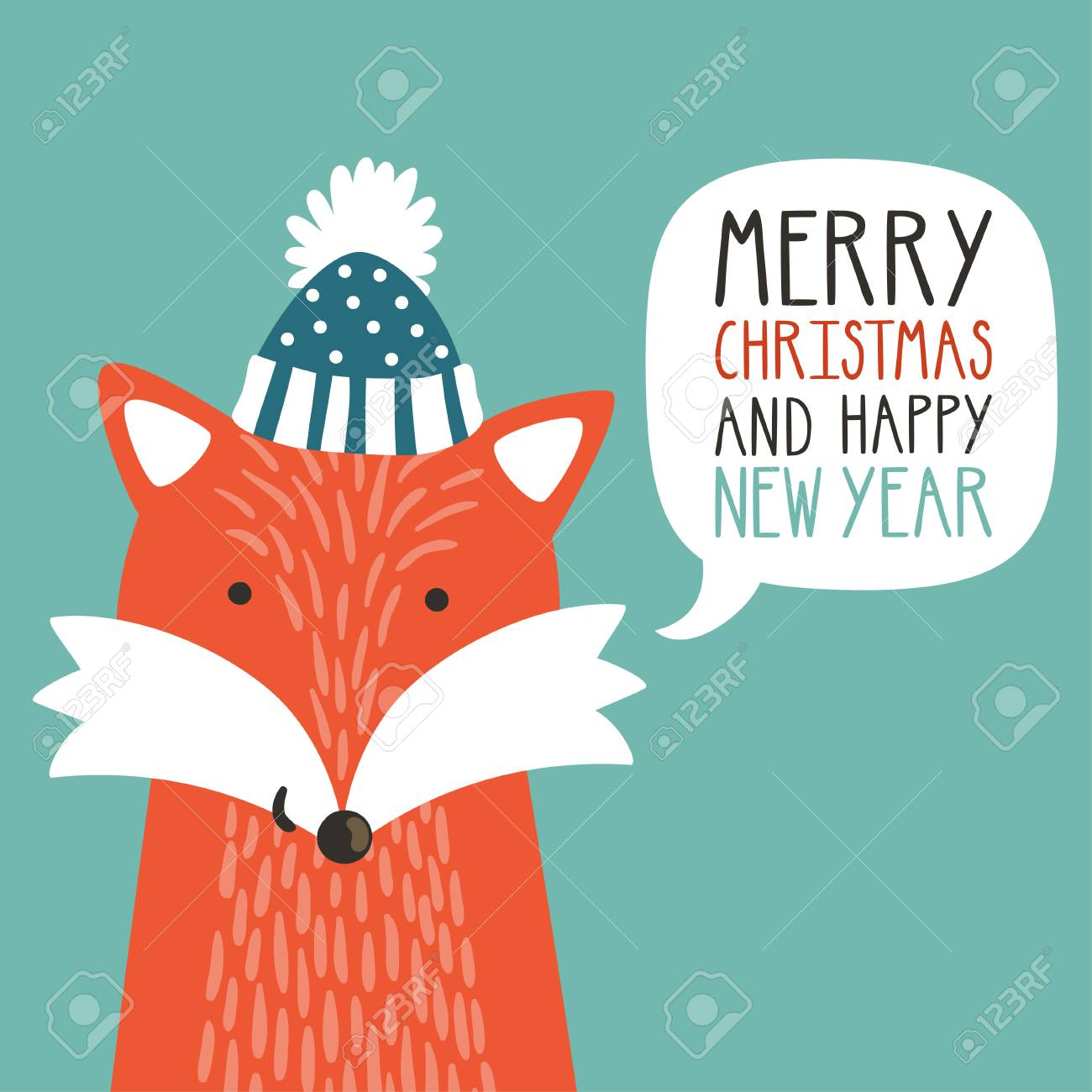 vector vector holiday illustration of a cute fox in a hat saying merry christmas and happy new year