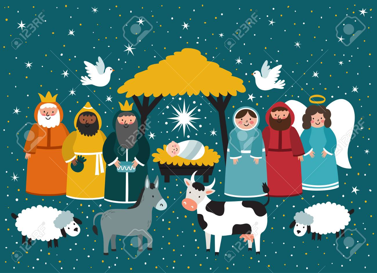 Christmas Jesus Birth Images.Traditional Christmas Scene Vector Background With Nativity