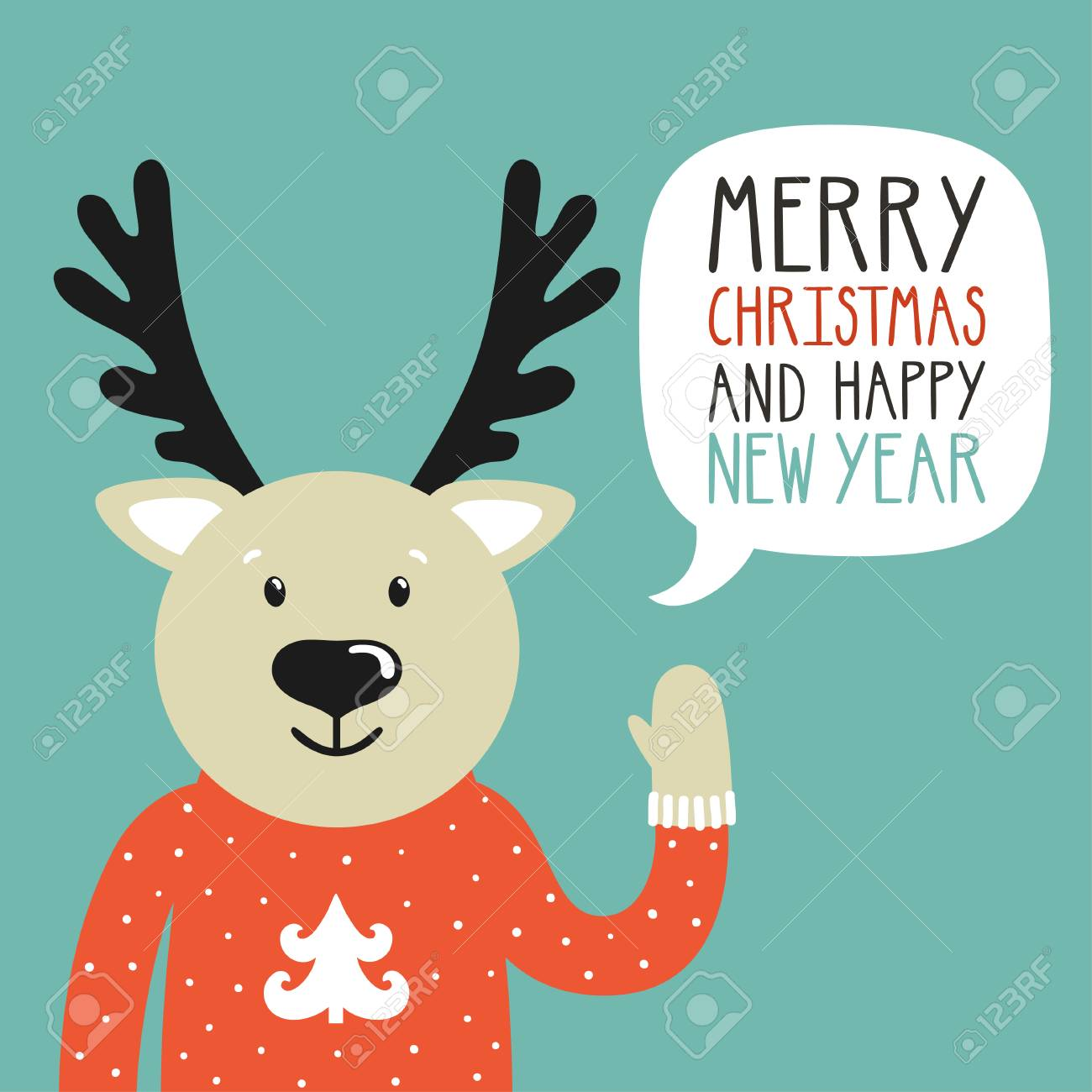 vector vector holiday illustration of a cute deer in a sweater saying merry christmas and happy new year christmas background with smiling cartoon