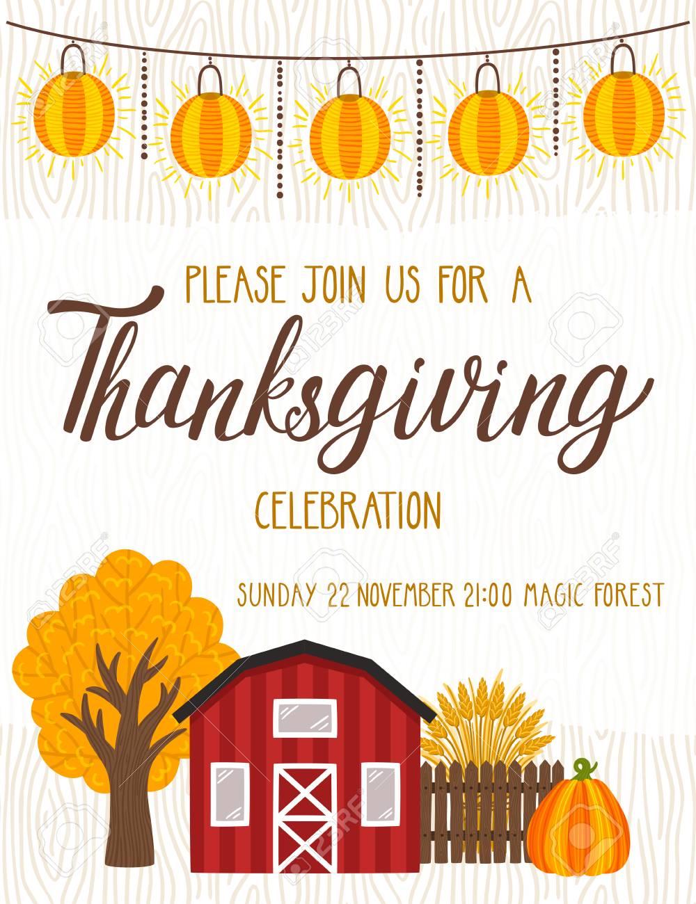 vector thanksgiving invitation template invite for harvest dinner