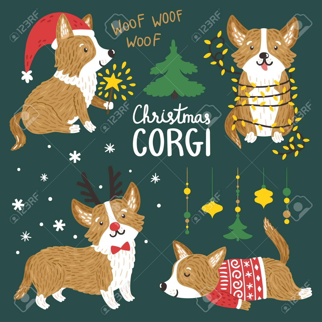 8210f89c Vector - Vector set of cute Corgi dogs with Christmas elements. Funny  animals with Santa hat, deer horns, garland of lights, norwegian sweater.