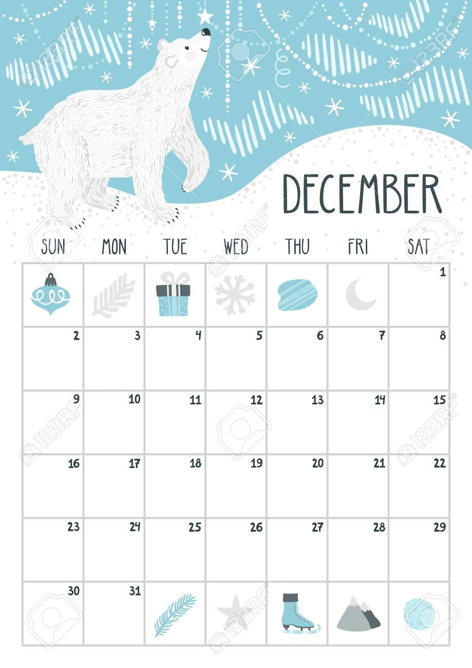 Vector Monthly Calendar With Cute Polar Bear December 2018