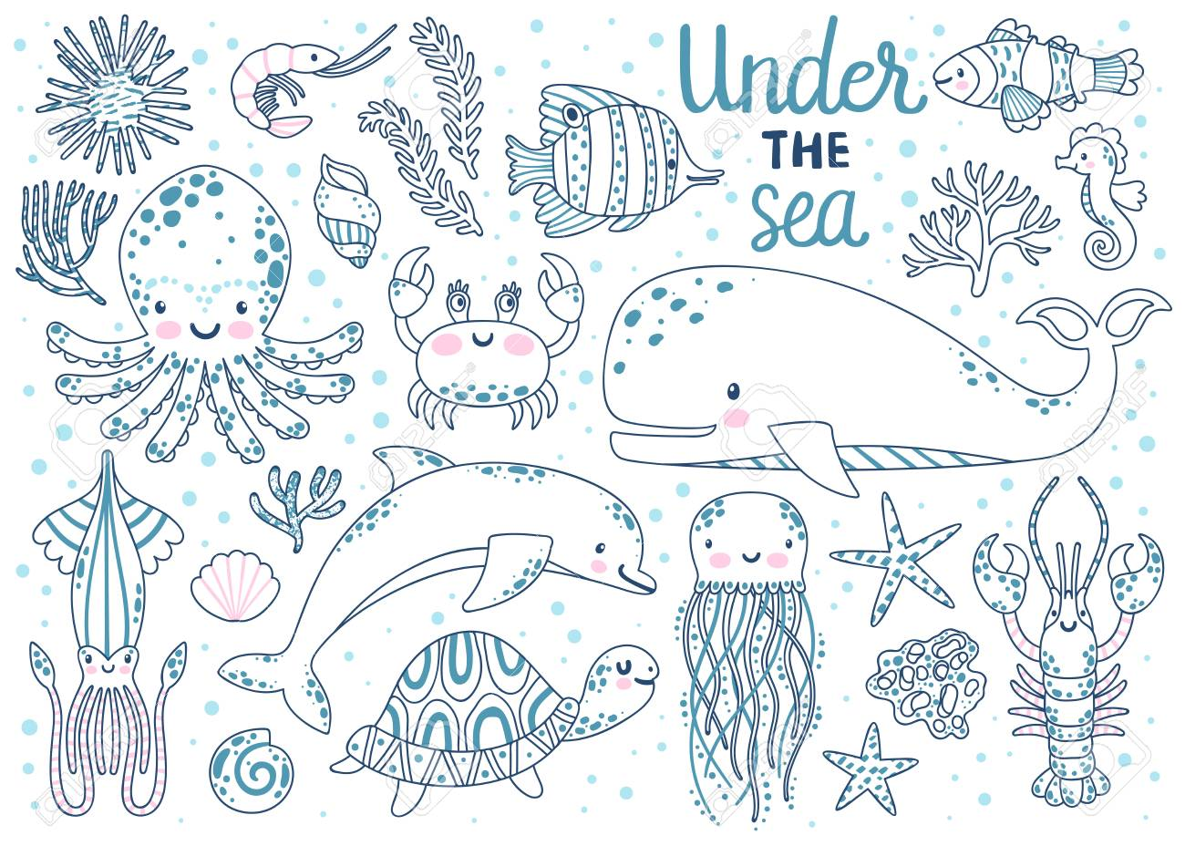 Kids coloring page. Vector set of underwater animals. Coloring..