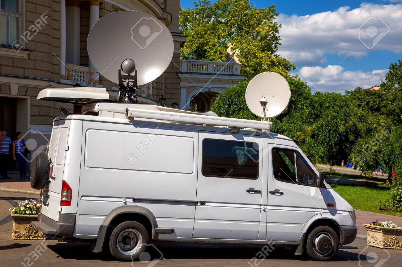 outside broadcasting car, mobile tv station of the emergency.. stock