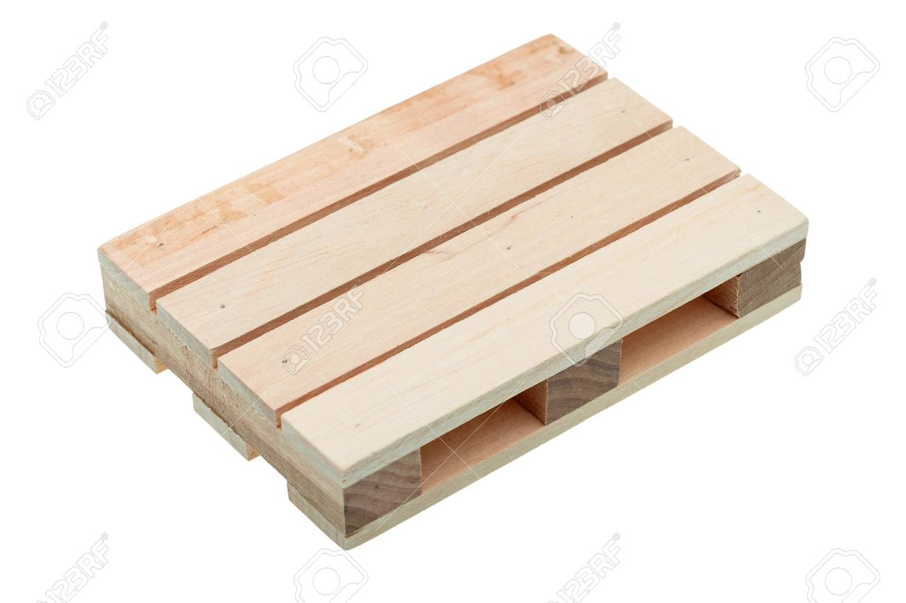 Wood Pallet Isolated On White Background Top View Sideways Stock