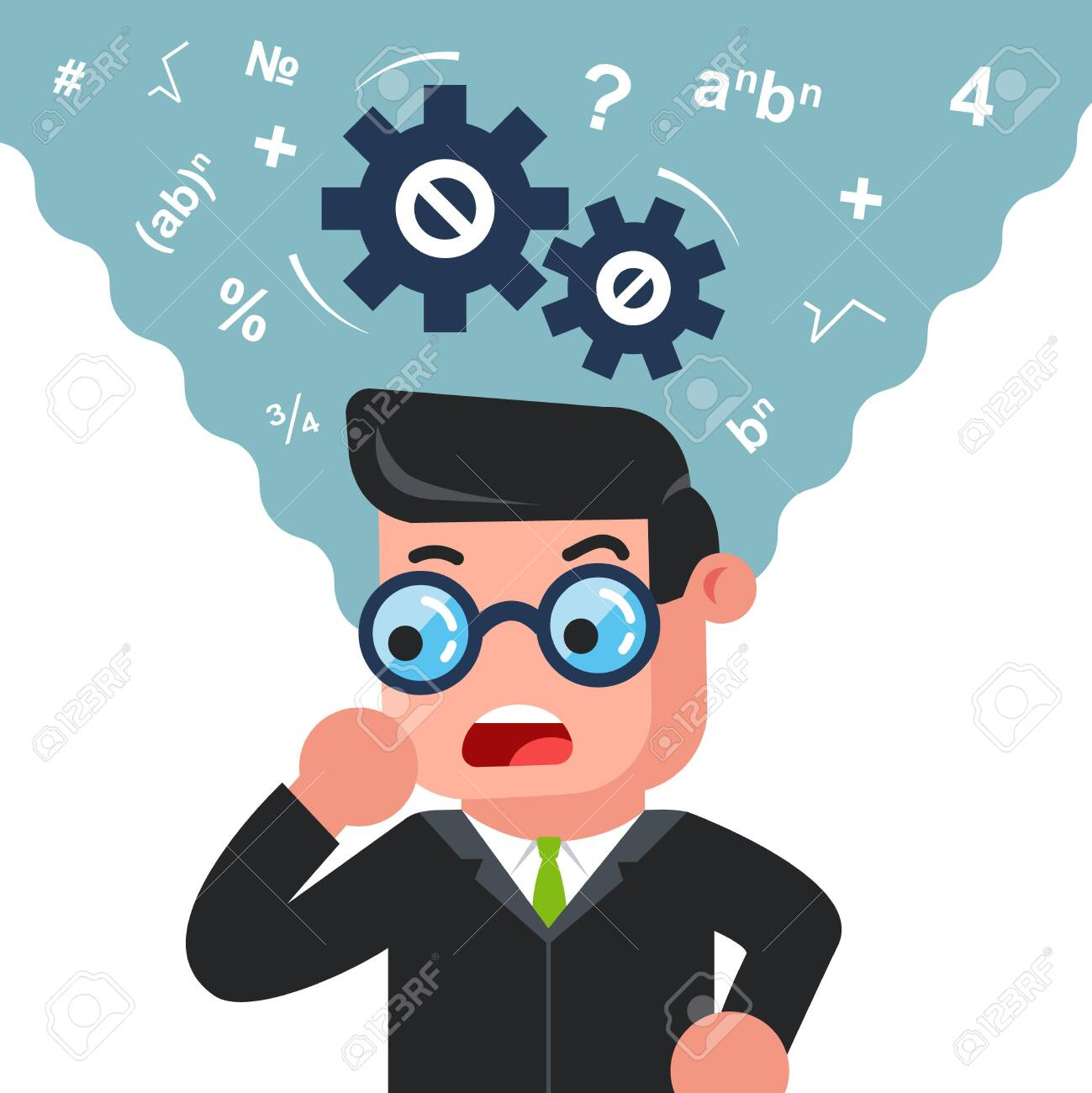 a man with glasses is thinking about solving a problem. mathematically mind. Flat character vector illustration. - 132597531