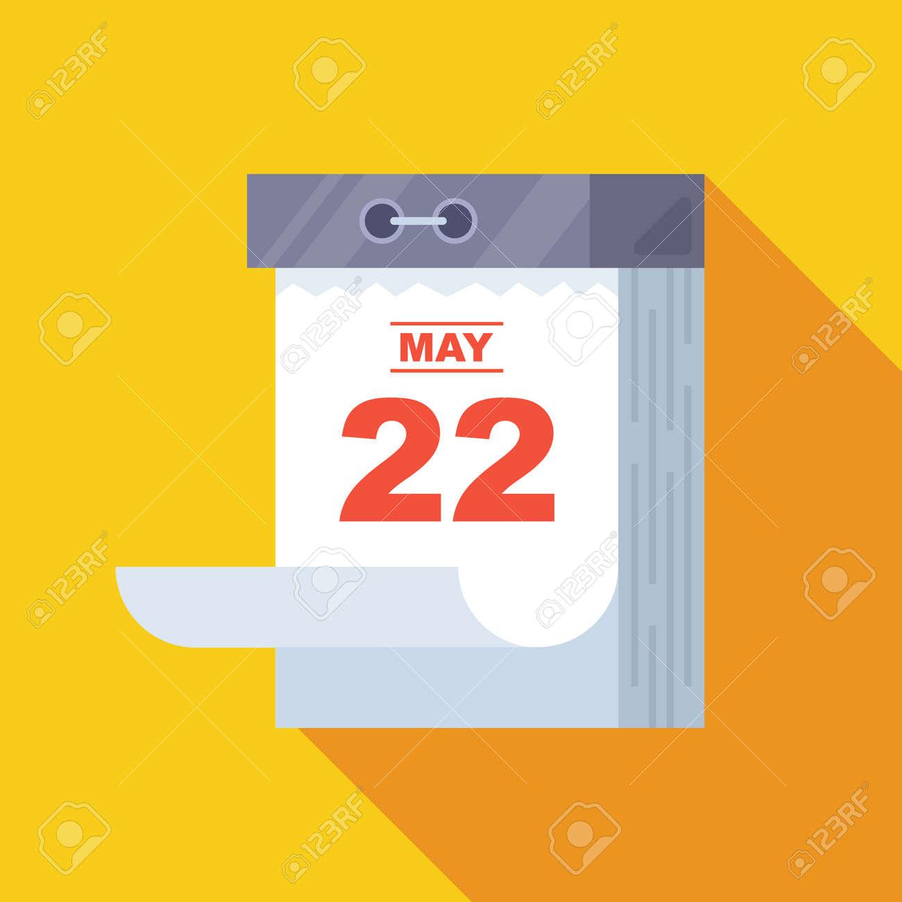 an old tear-off calendar hanging on the wall. flat kaya vector illustration. - 168476260