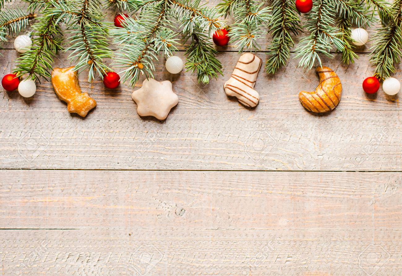 Holiday Christmas Background.Christmas Holiday Background With Ornaments Like Cookies And