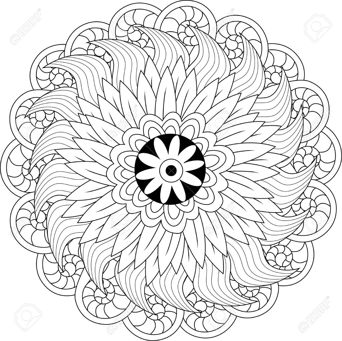 Black And White Floral Pattern For Coloring Book In Doodle Style. Vector  Elements For Design