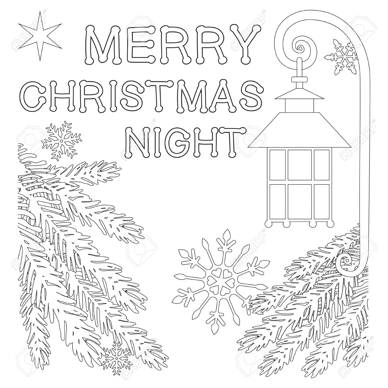 Cartel De La Noche De Feliz Navidad Con Estrellas Solitarias Farol Calle Copo De Nieve Y Ramas De árboles De Navidad Página De Libro Para