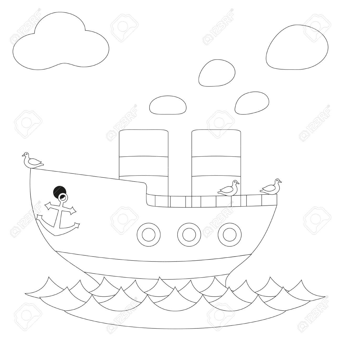 Vettoriale Manifesto Di Vettore In Bianco E Nero Di Nave Vapore Retro Pagina Del Libro Da Colorare Per Adulti E Bambini Illustrazione Con Nave A Vapore Uccello Gabbiano Acqua Di Mare