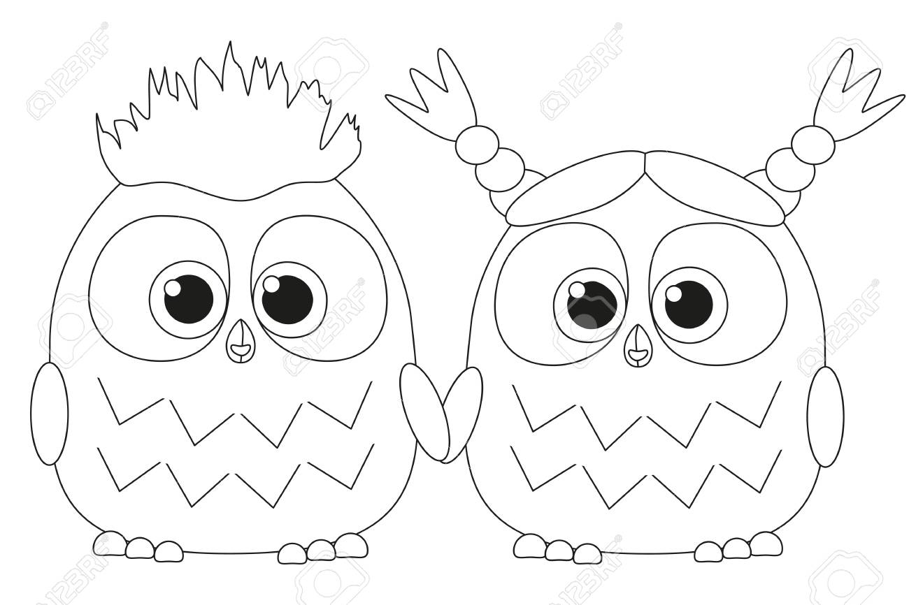 Black and white poster with an owl couple coloring book page for adults and kids