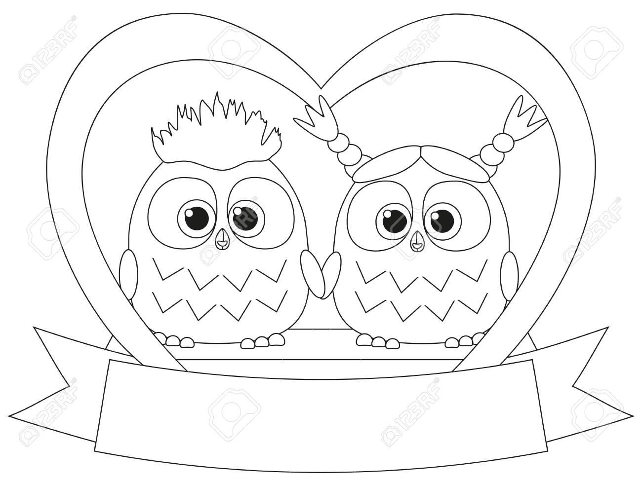 Black and white valentine day poster with an owl couple coloring book page for adults