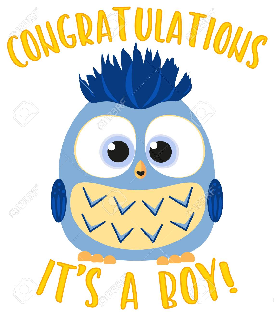 congratulations it s a boy colorful poster cute baby boy owl birthday themed flat vector
