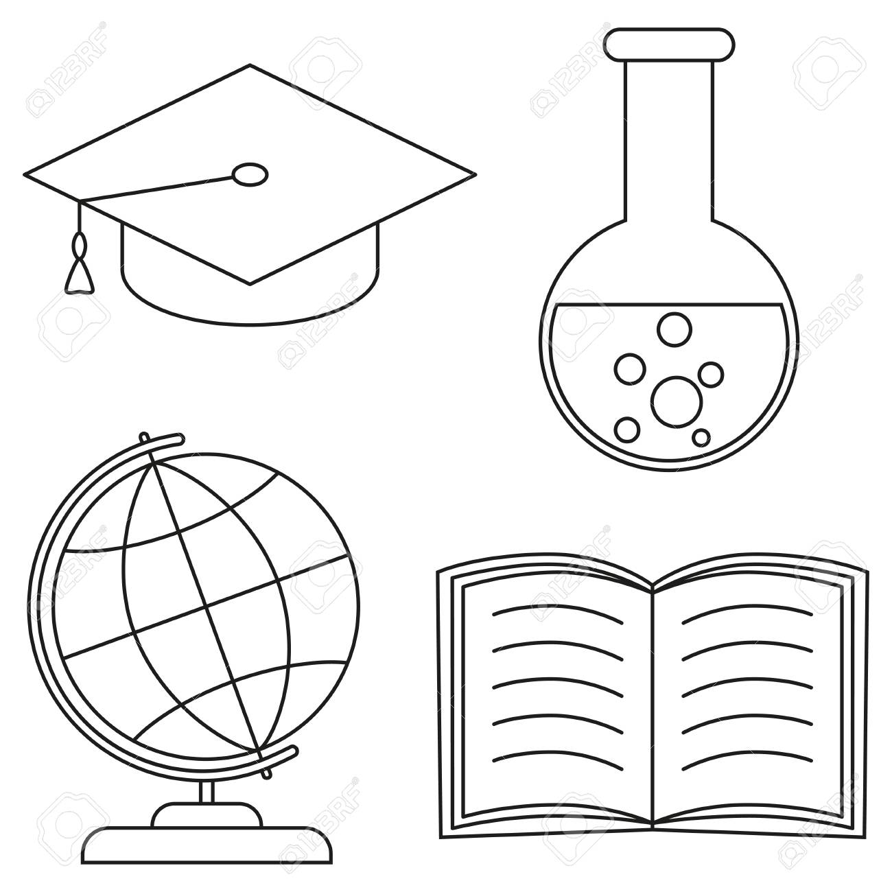 School College University Science Line Art Icon Set Poster Coloring Book Page For Adults And