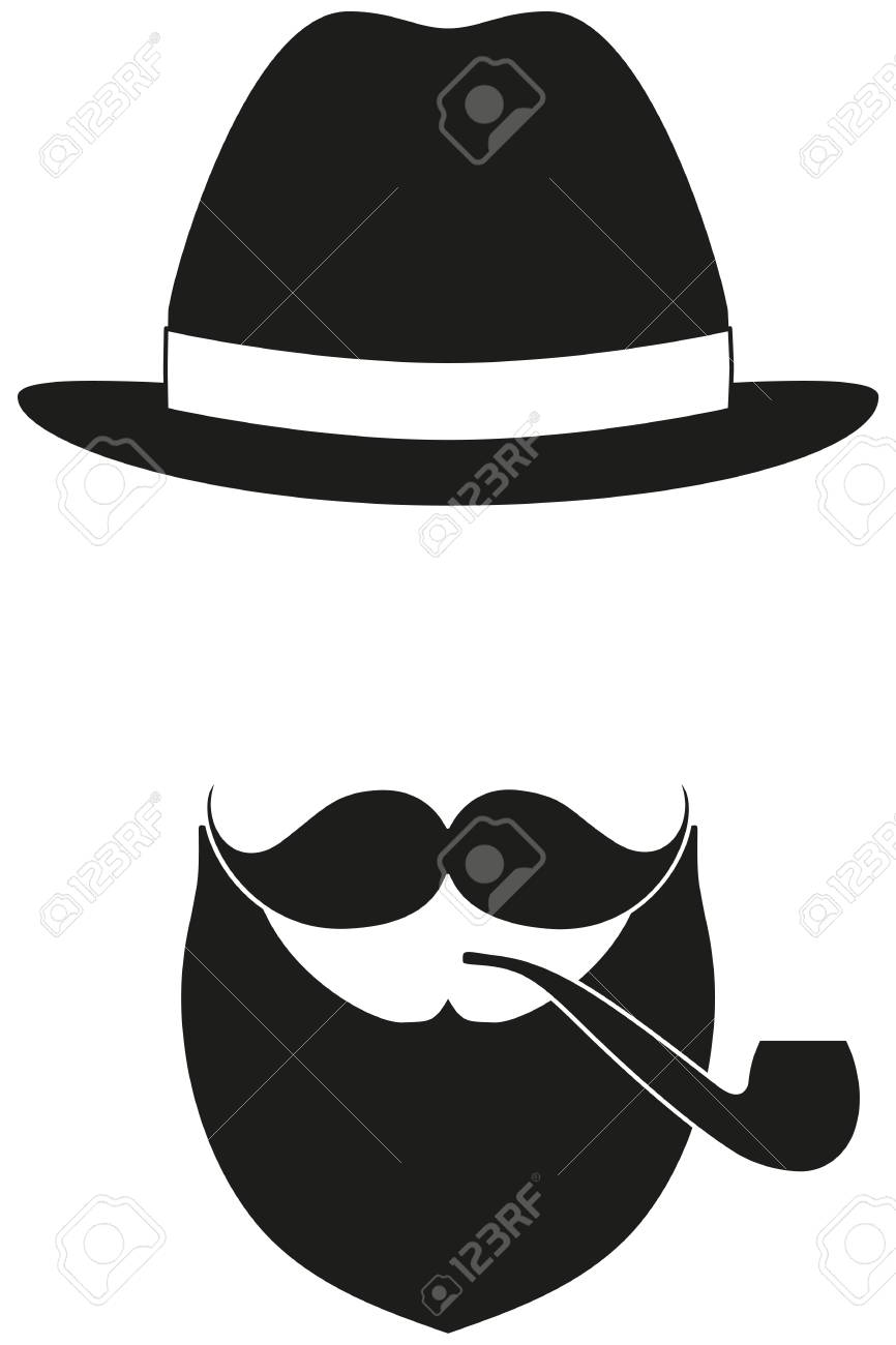 Icon poster man father dad day avatar elements set hat mustache smoking pipe beard silhouette
