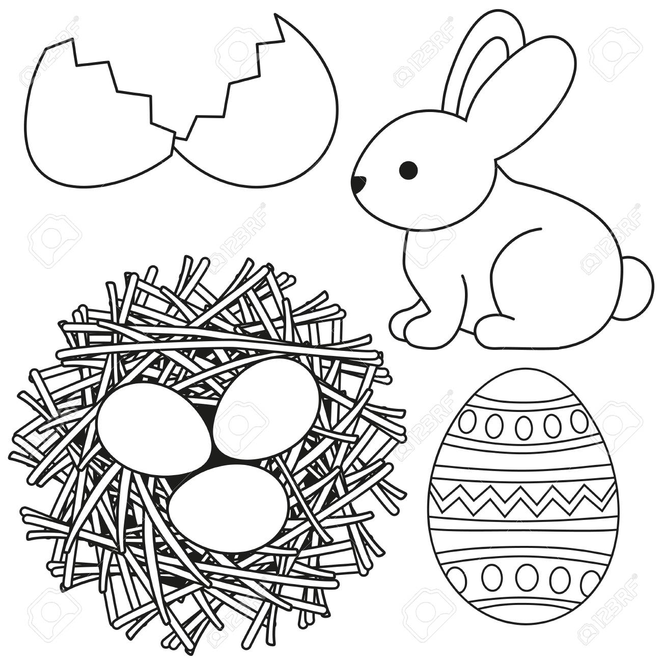 Line Art Black And White Easter Icon Set Egg Shell Bunny Chicken Nest Coloring Book