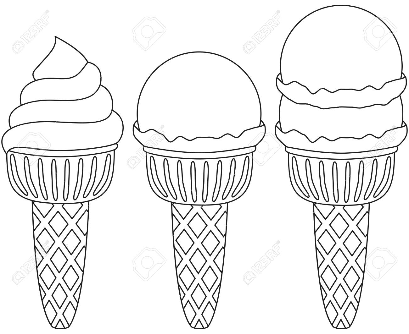 Black and white ice cream cone icon set coloring book page for adults and kids