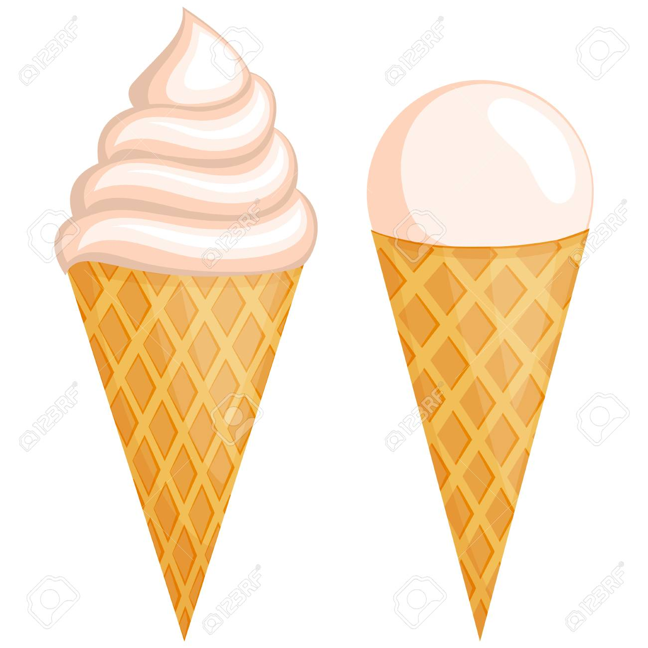 Colorful vanilla ice cream set  Summer comfort fast food vector