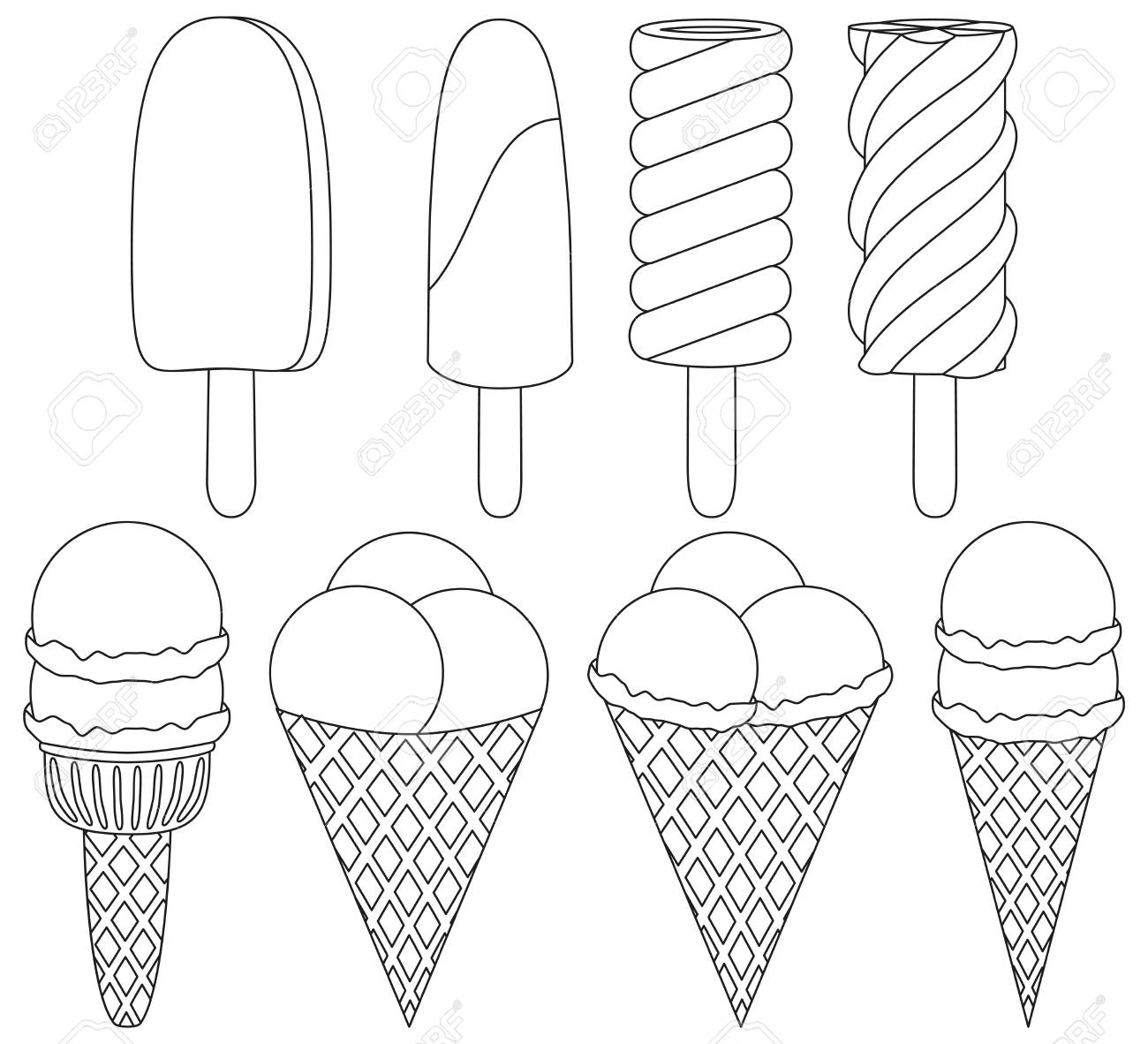 Ice Cream Cone Black And White Icon Set Elements Coloring Book Page For Adults