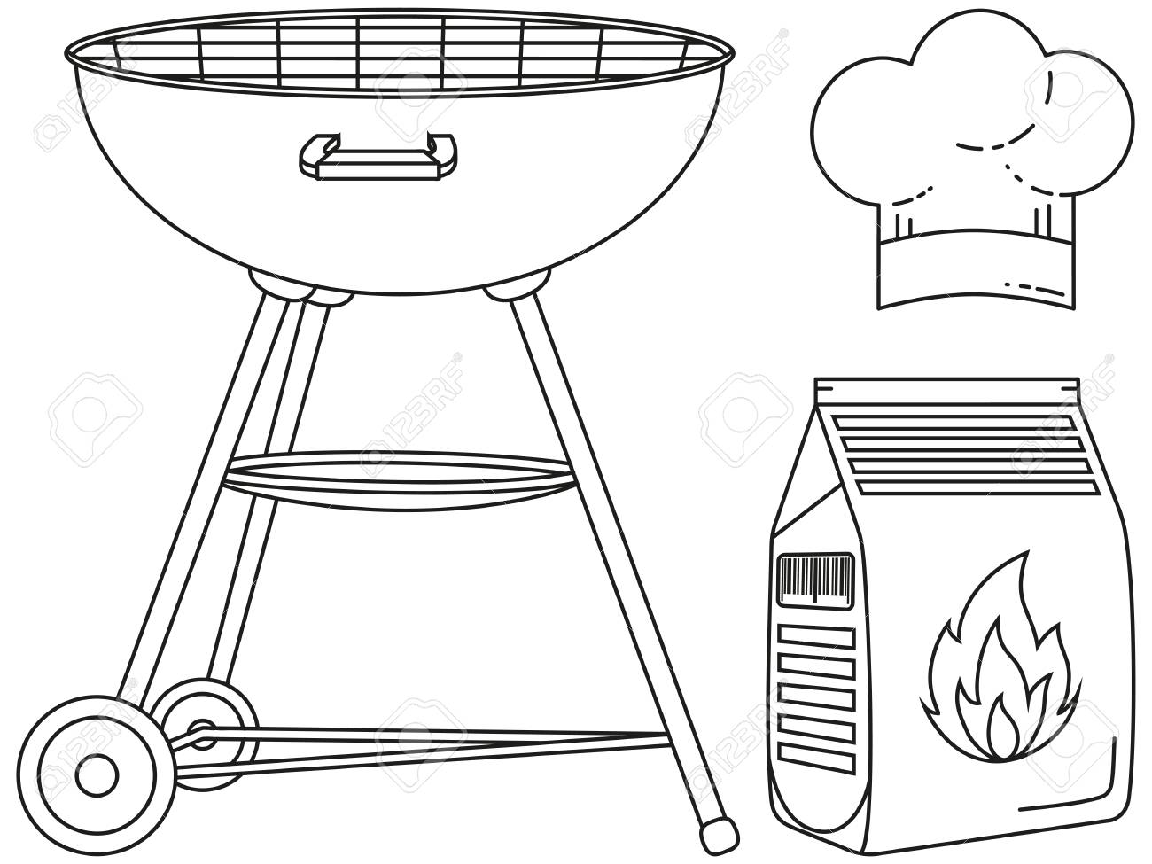 Line Art Black And White Outdoors Cooking Set. BBQ Grill, Coal ...