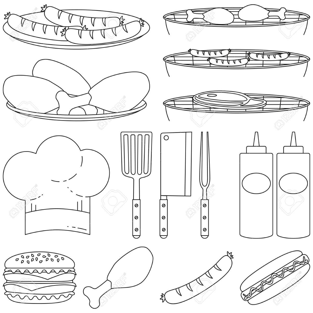 Line Art Black White Bbq Cooking 15 Element Set Food Themed