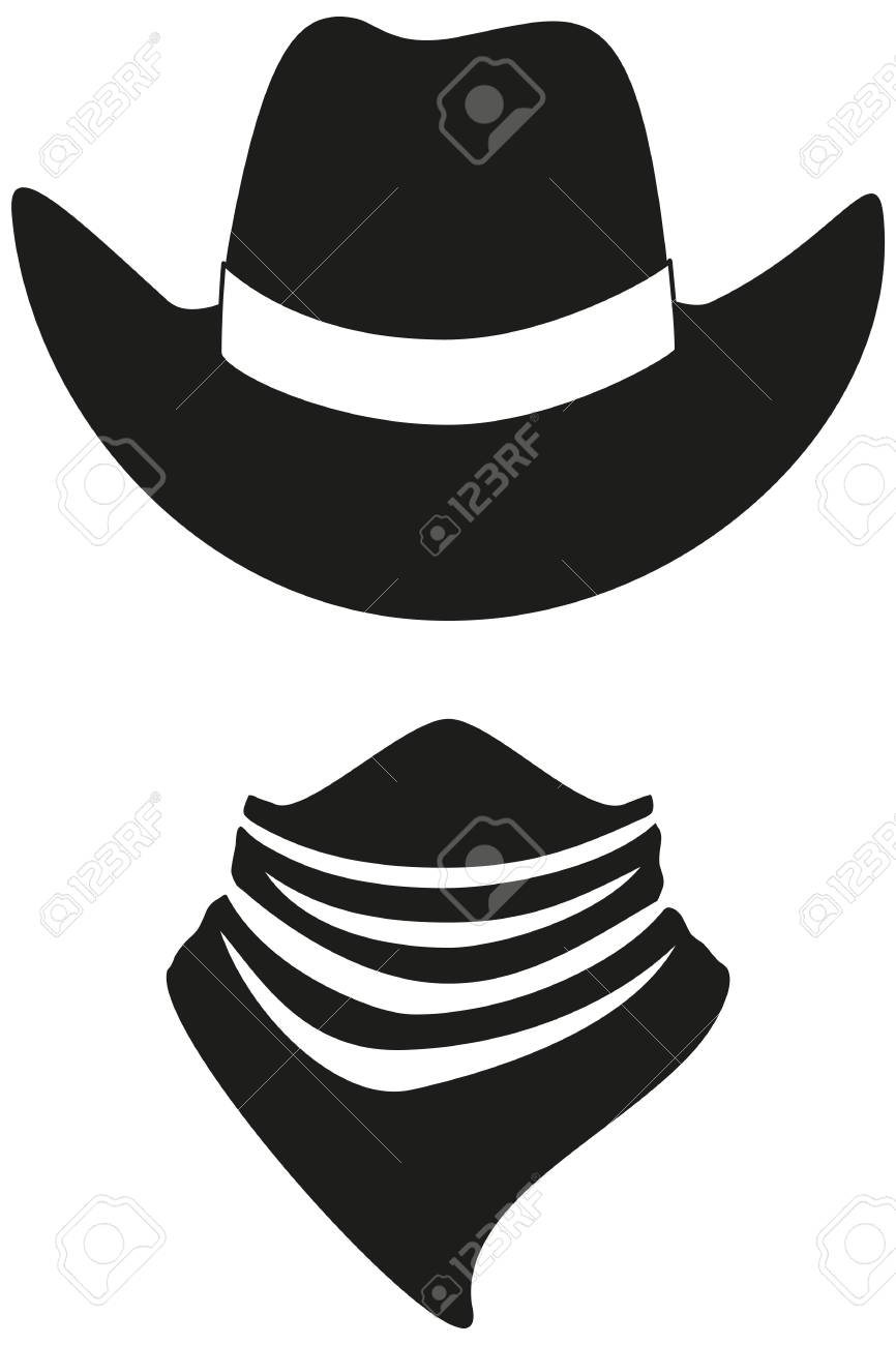 Black and white cowboy avatar silhouette. Hat and bandana scarf. Wild west  vector illustration faa92cdebb4