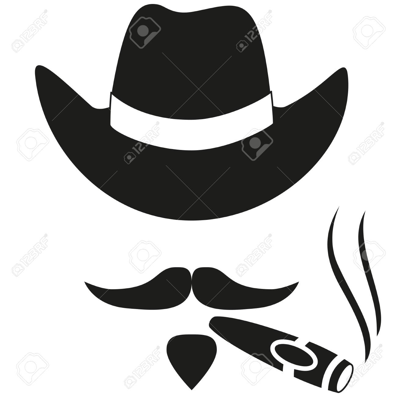 231670cb Black and white smoking cowboy avatar silhouette. Stetson hat sigar, moustache  beard. Western