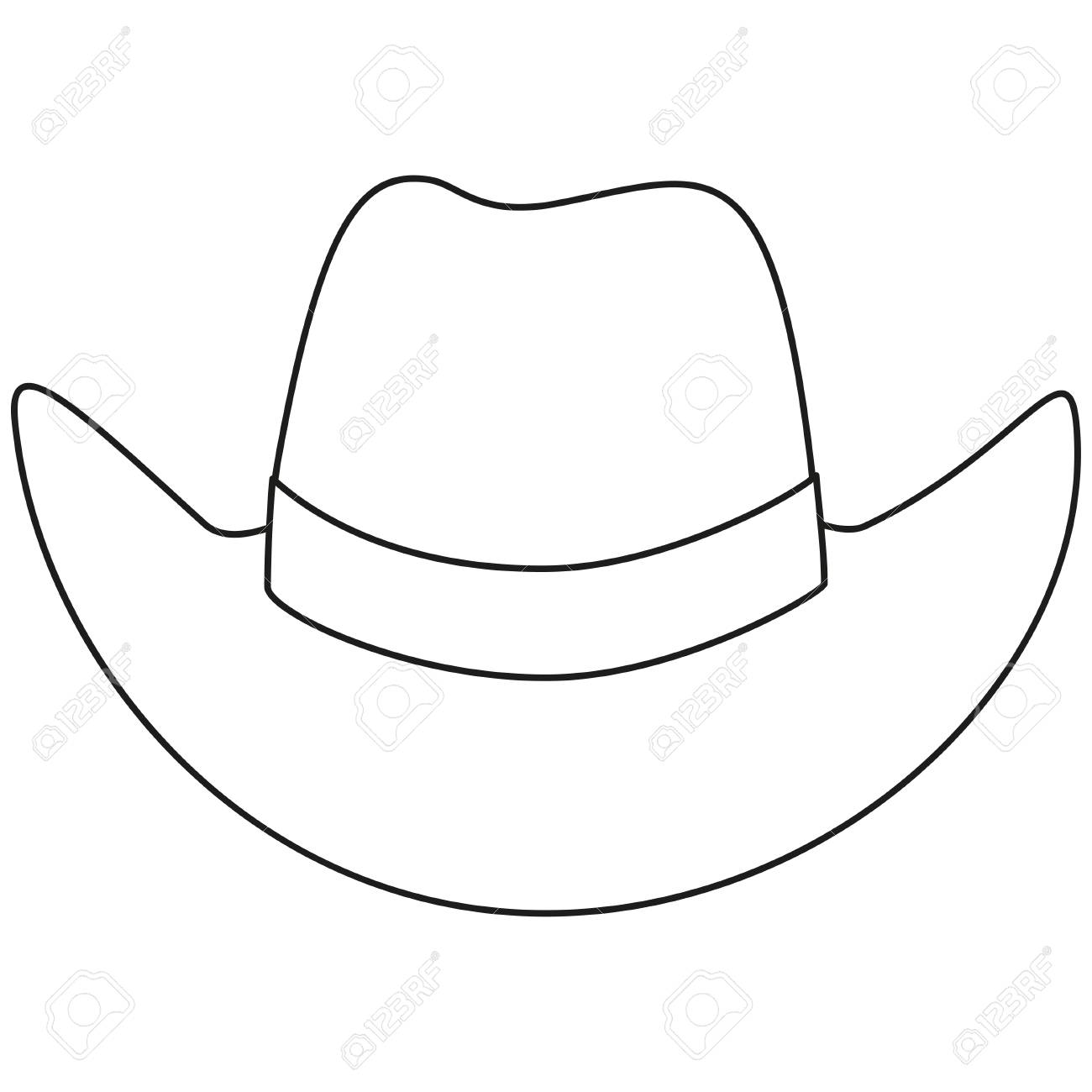 bde4fcad8b551 Line art black and white cowboy hat. Wild west vector illustration for gift  card certificate