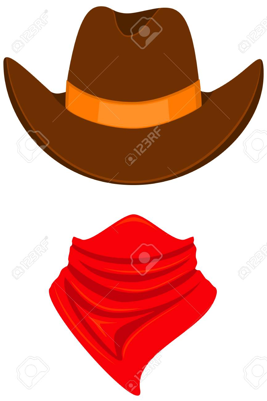 Colorful cartoon cowboy avatar. Stetson hat and bandana scarf. Wild west  vector illustration for 9508ed01cba