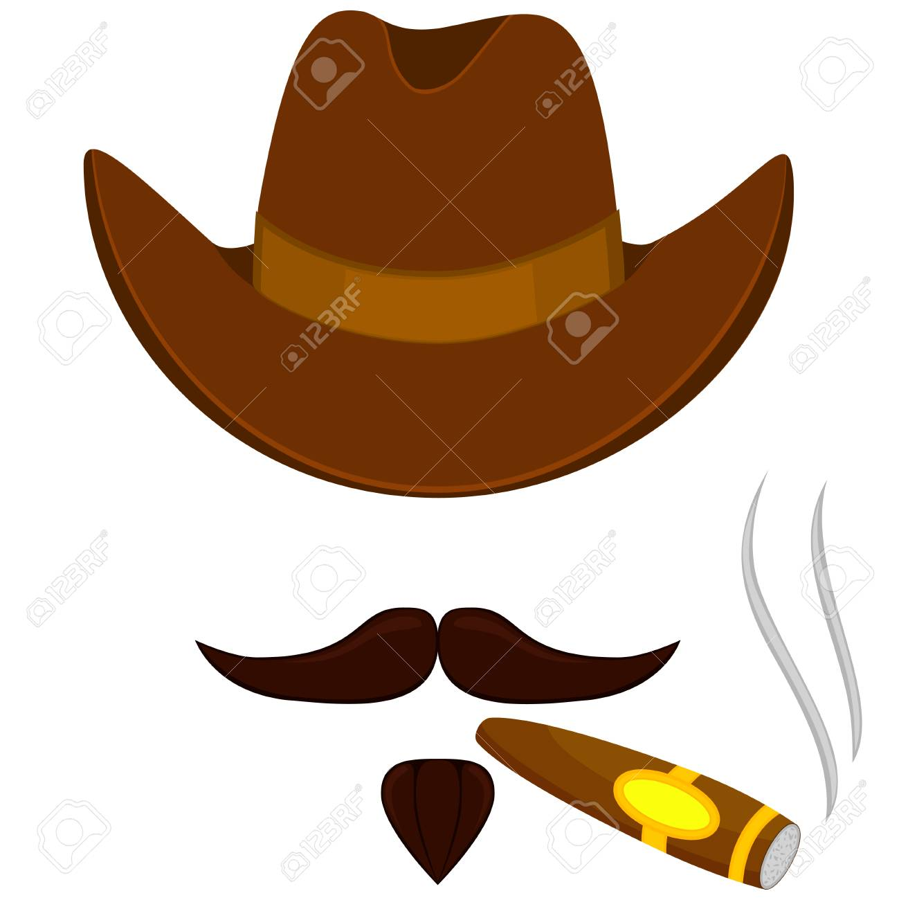 Colorful cartoon smoking cowboy avatar. Stetson hat sigar and mustache  beard. Western vector illustration e5678b29aabc