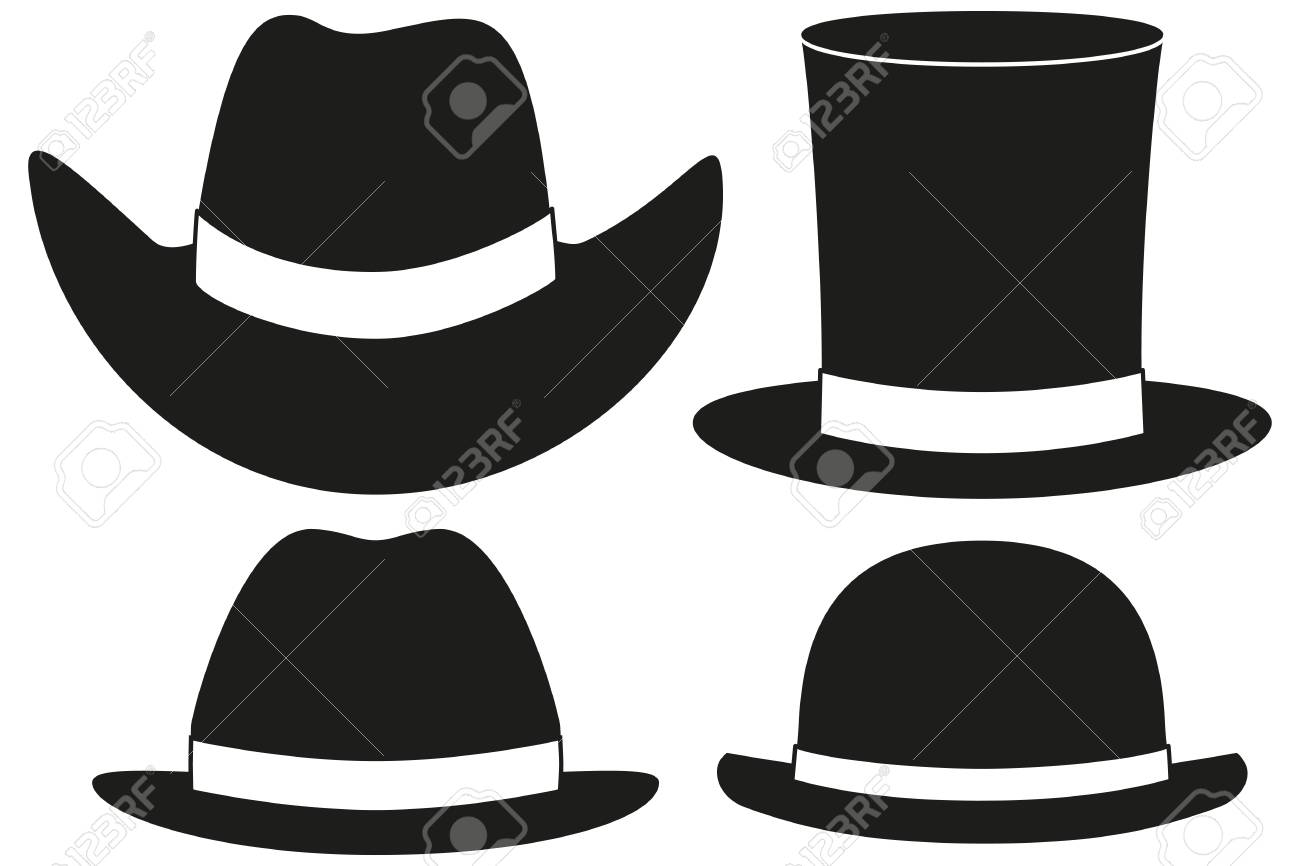 Black and white hat silhouette set 4 element. Hipster themed vector  illustration for gift card a36a03b40629