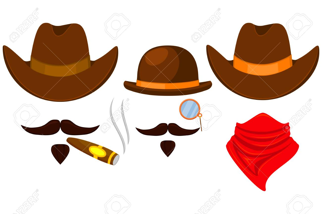 Colorful cartoon 3 western cowboy avatars set. Wild west vector illustration  for gift card certificate e88b2c3ede2e