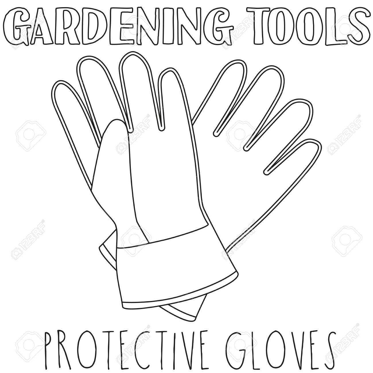 Line Art Black And White Protective Gloves Coloring Book Page For Adults Kids