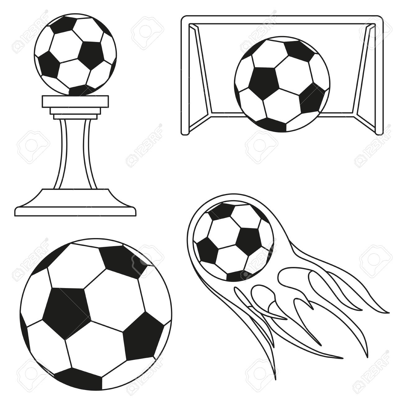 Black and white soccer goals set sport vector illustration for icon sticker sign