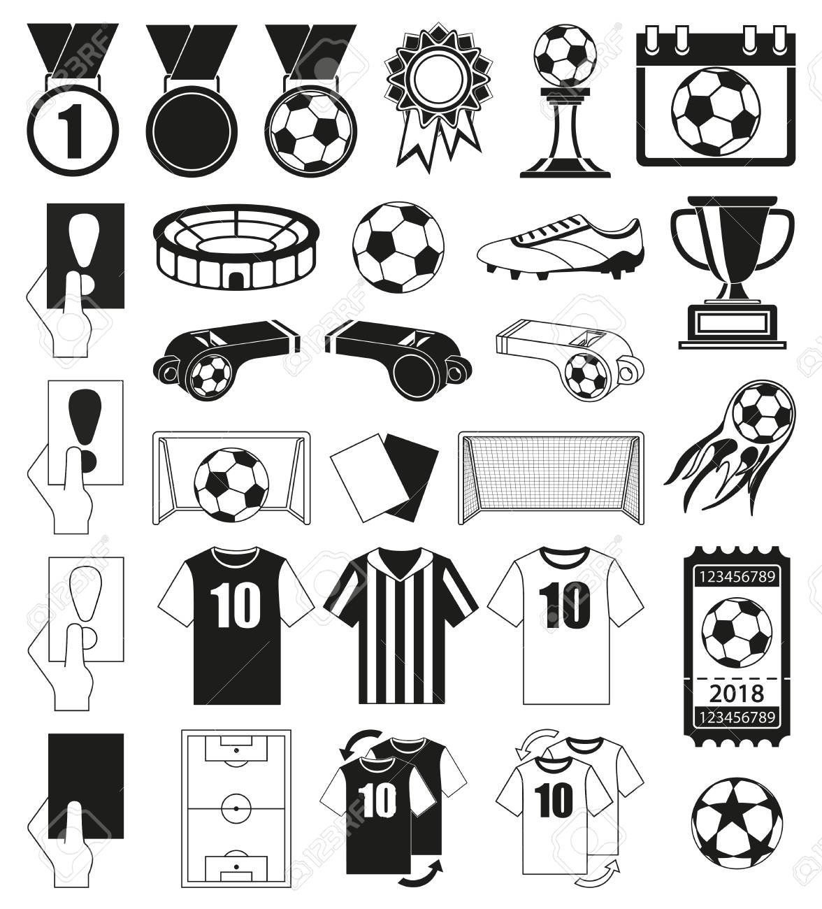 30 soccer elements black and white set sport vector illustration for icon sticker sign