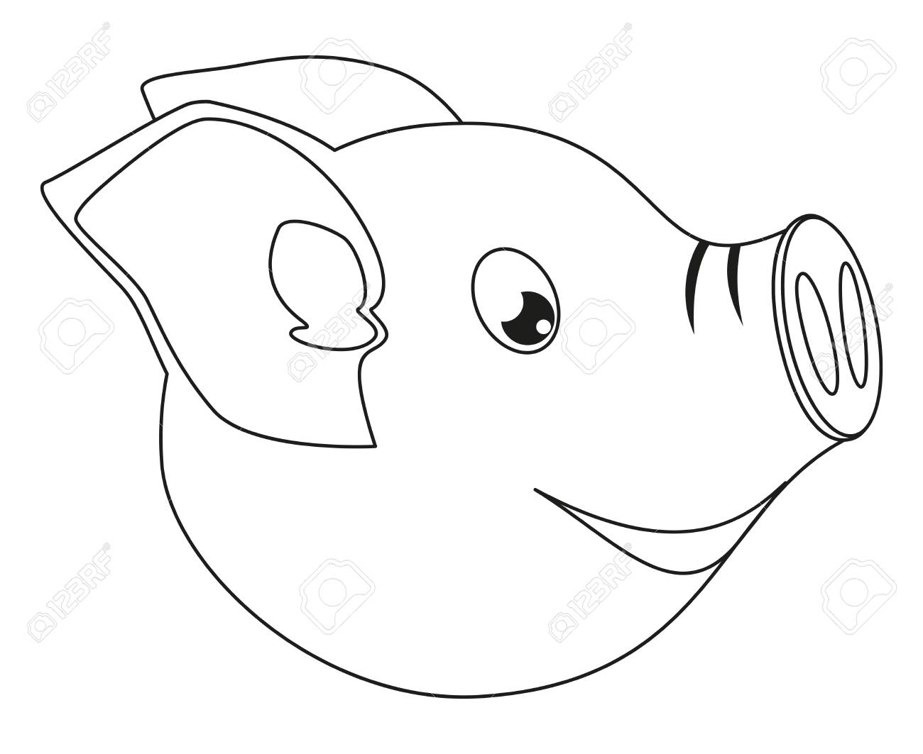Line Art Black And White Pig Face Side View 2019 Year Chinese