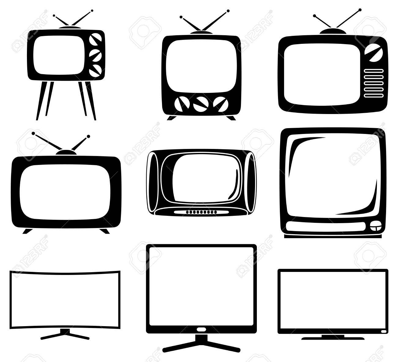 Black And White 9 Element Tv Silhouette Set. Coloring Page For ...