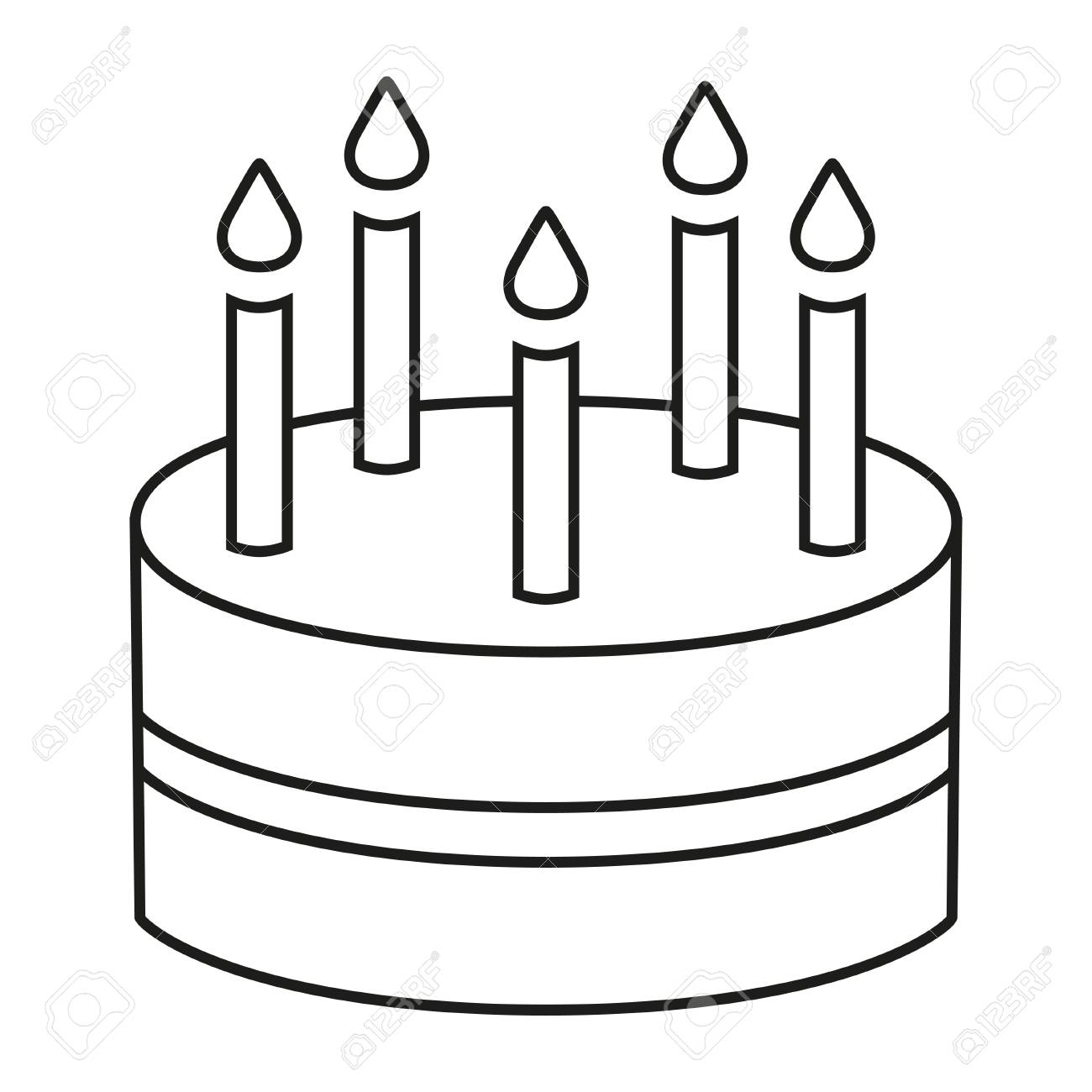 Line Art Black And White Birthday Cake 5 Candles Coloring Page