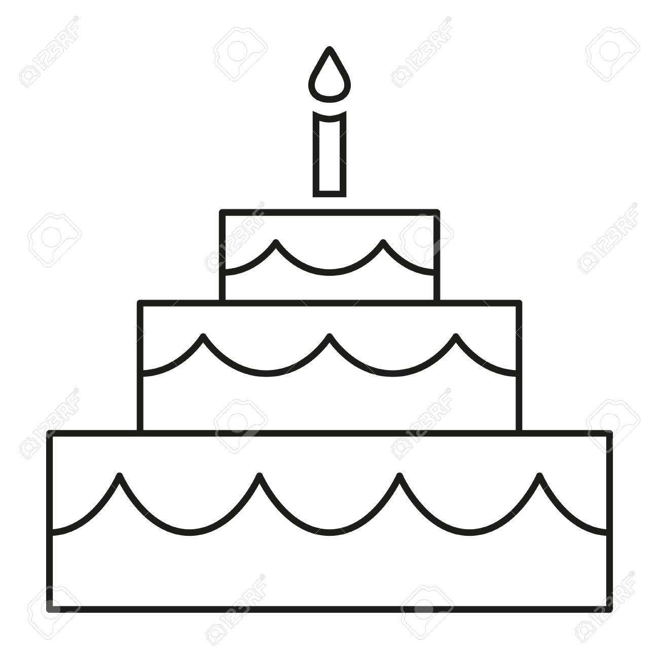 Terrific Line Art Black And White Birthday Cake Coloring Page For Adults Funny Birthday Cards Online Alyptdamsfinfo