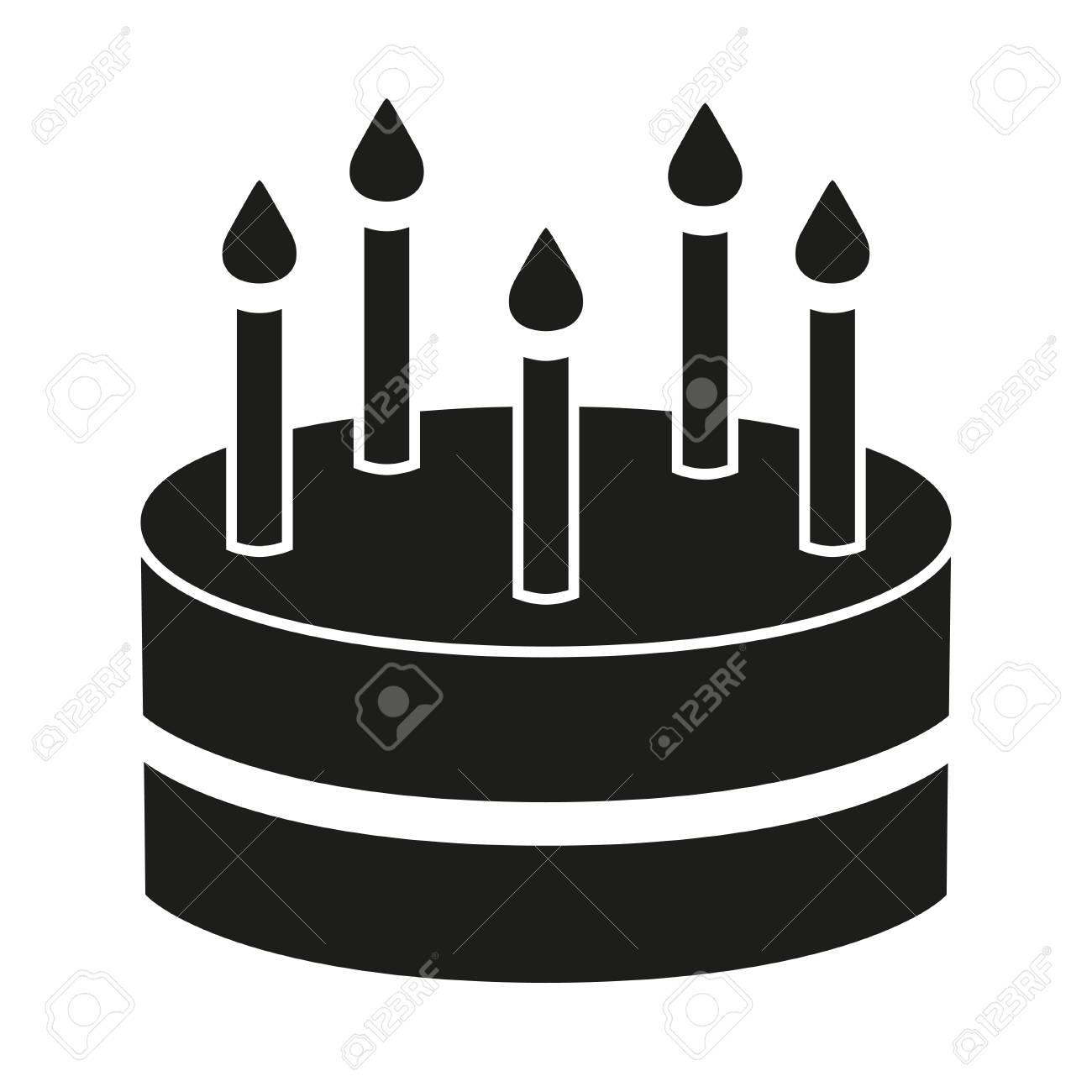 Prime Black And White Birthday Cake 5 Candles Silhouette Sweet Food Personalised Birthday Cards Akebfashionlily Jamesorg