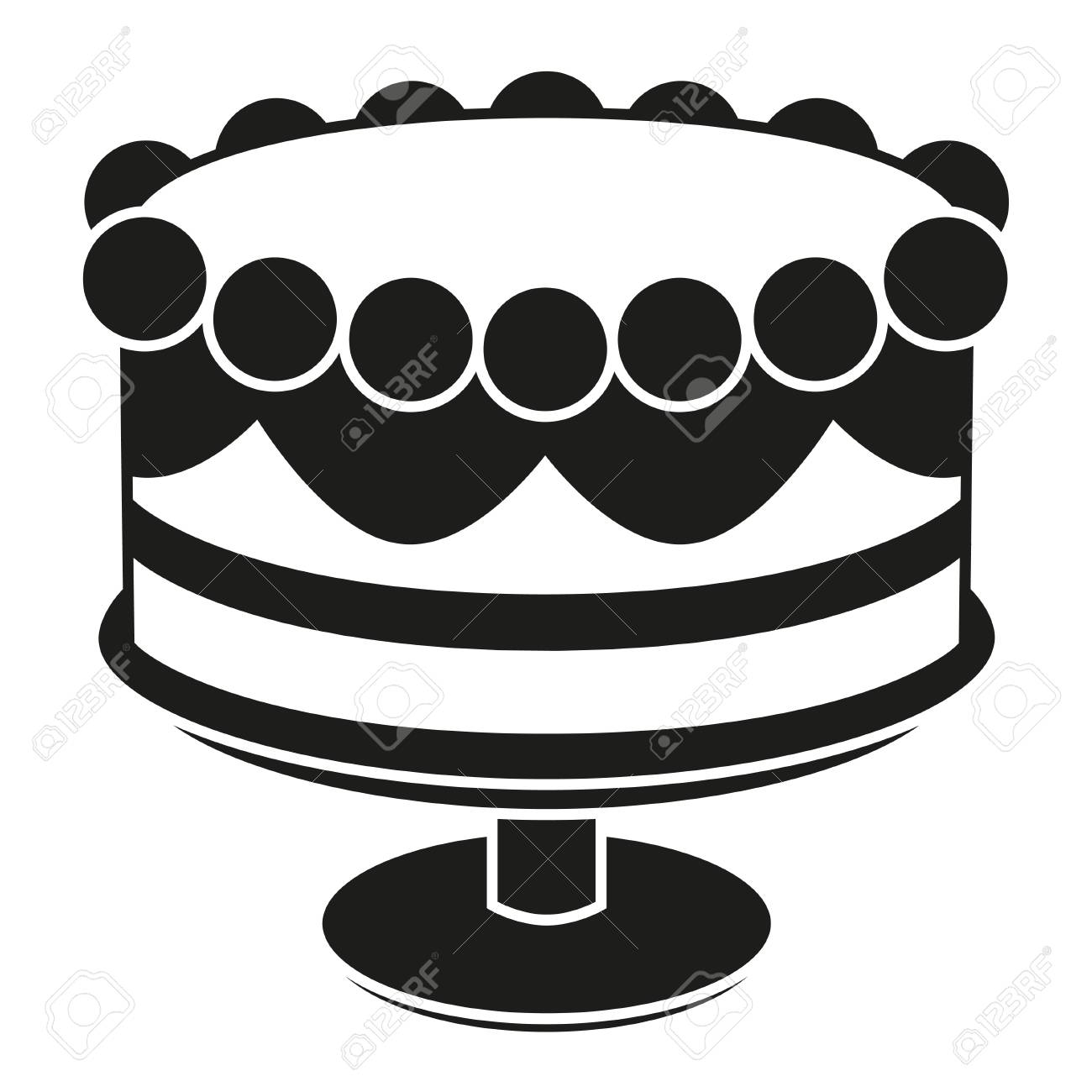 Black And White Birthday Cake On Stand Silhouette Sweet Food