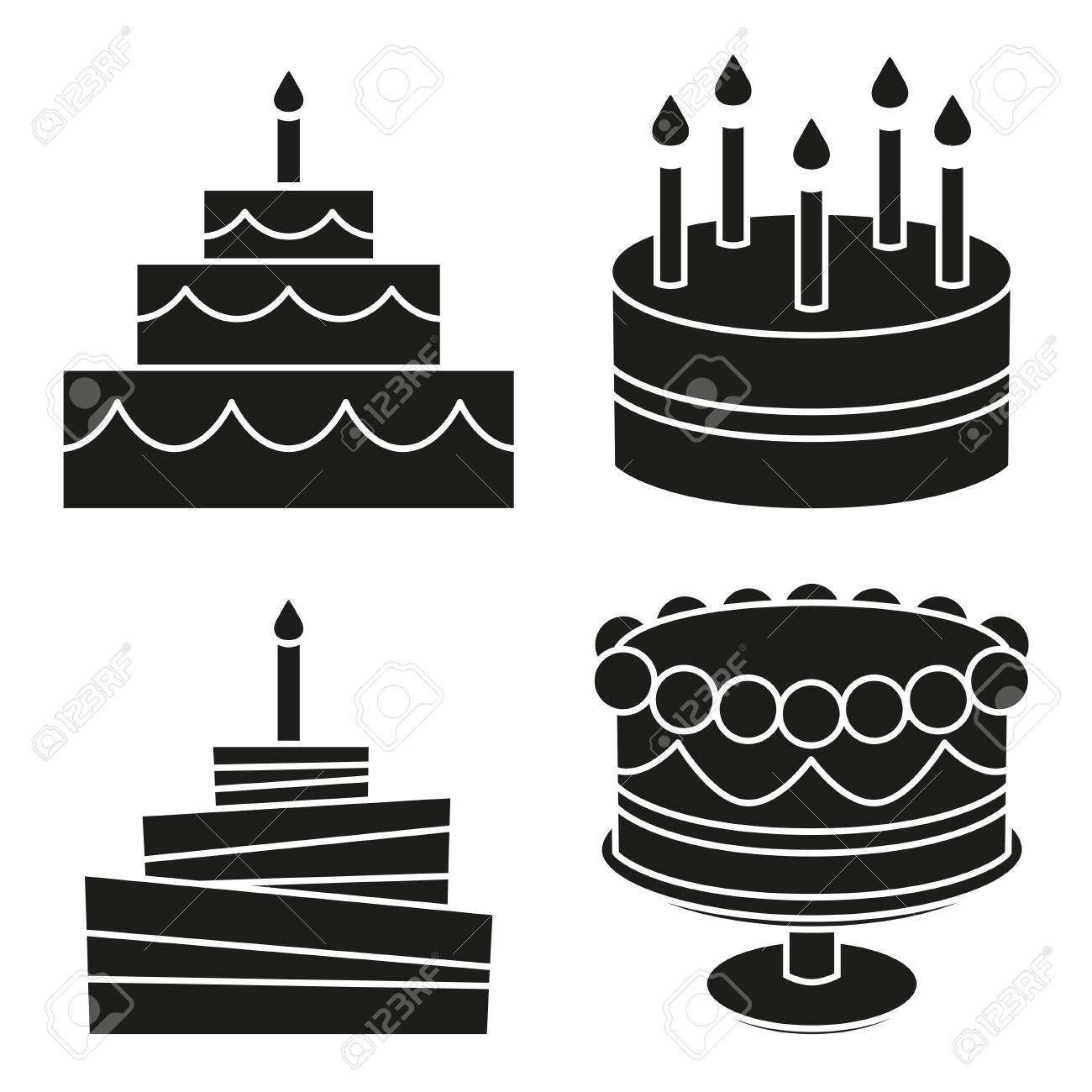 Black And White Birthday Cake Silhouette Set Sweet Food Vector